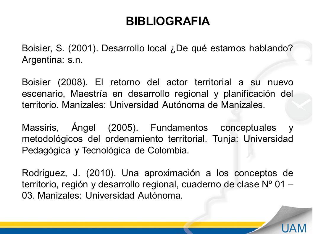 BIBLIOGRAFIA Boisier, S.(2001). Desarrollo local ¿De qué estamos hablando.