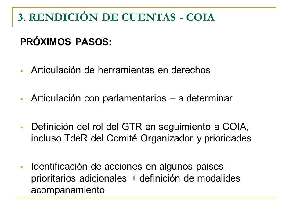 PRÓXIMOS PASOS: Articulación de herramientas en derechos Articulación con parlamentarios – a determinar Definición del rol del GTR en seguimiento a COIA, incluso TdeR del Comité Organizador y prioridades Identificación de acciones en algunos paises prioritarios adicionales + definición de modalides acompanamiento 3.