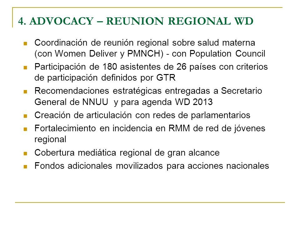 Coordinación de reunión regional sobre salud materna (con Women Deliver y PMNCH) - con Population Council Participación de 180 asistentes de 26 países