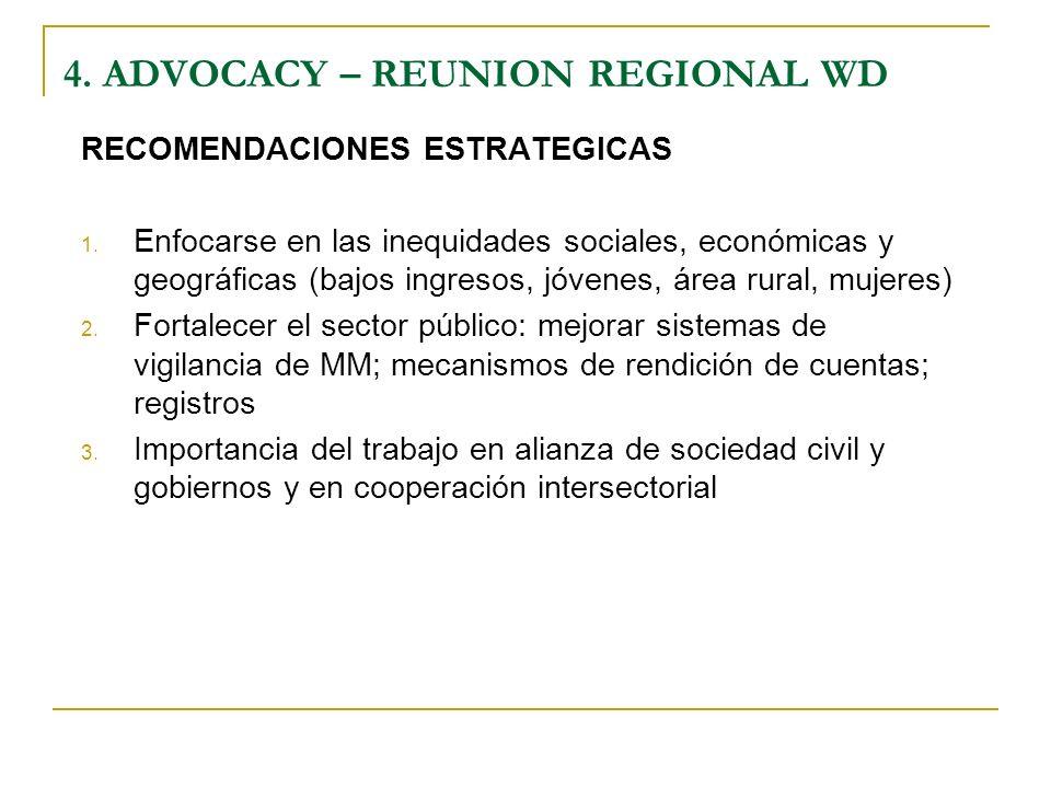 RECOMENDACIONES ESTRATEGICAS 1. Enfocarse en las inequidades sociales, económicas y geográficas (bajos ingresos, jóvenes, área rural, mujeres) 2. Fort