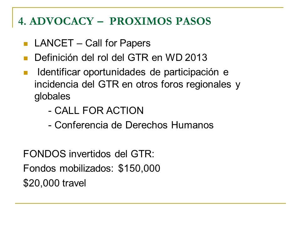 LANCET – Call for Papers Definición del rol del GTR en WD 2013 Identificar oportunidades de participación e incidencia del GTR en otros foros regionales y globales - CALL FOR ACTION - Conferencia de Derechos Humanos FONDOS invertidos del GTR: Fondos mobilizados: $150,000 $20,000 travel 4.