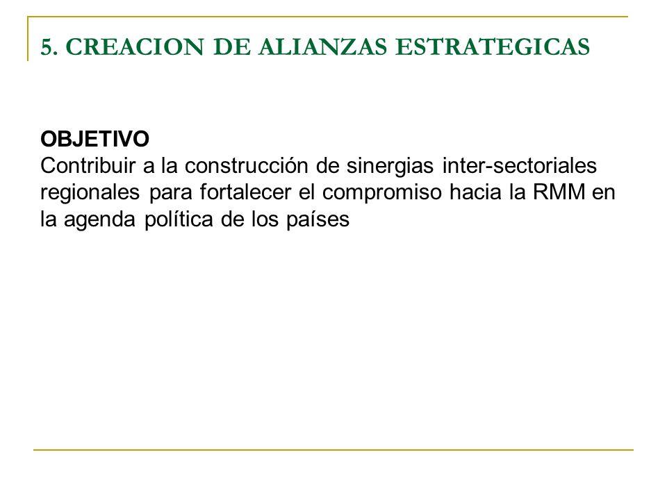 5. CREACION DE ALIANZAS ESTRATEGICAS OBJETIVO Contribuir a la construcción de sinergias inter-sectoriales regionales para fortalecer el compromiso hac