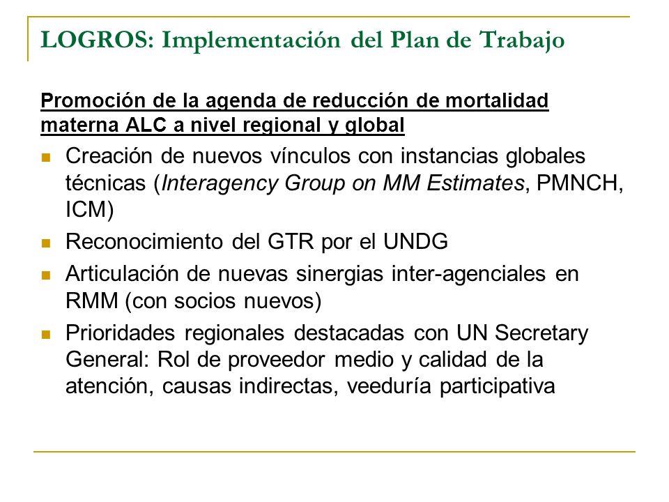 LOGROS: Implementación del Plan de Trabajo Promoción de la agenda de reducción de mortalidad materna ALC a nivel regional y global Creación de nuevos