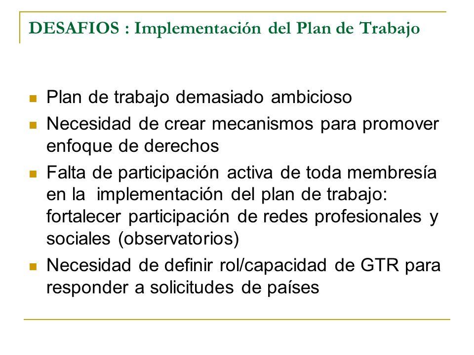 DESAFIOS : Implementación del Plan de Trabajo Plan de trabajo demasiado ambicioso Necesidad de crear mecanismos para promover enfoque de derechos Falt