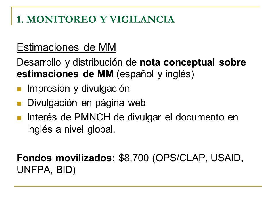 1. MONITOREO Y VIGILANCIA Estimaciones de MM Desarrollo y distribución de nota conceptual sobre estimaciones de MM (español y inglés) Impresión y divu