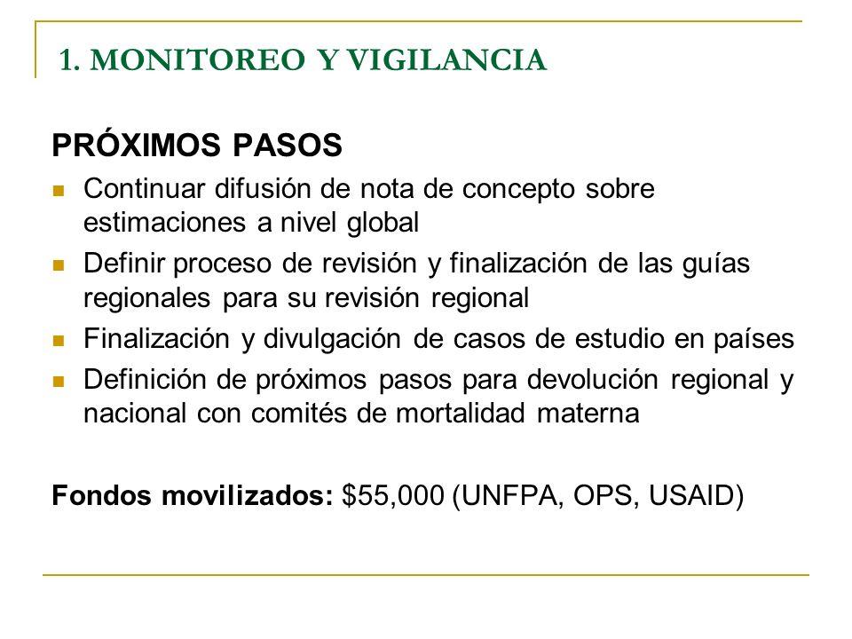 PRÓXIMOS PASOS Continuar difusión de nota de concepto sobre estimaciones a nivel global Definir proceso de revisión y finalización de las guías region