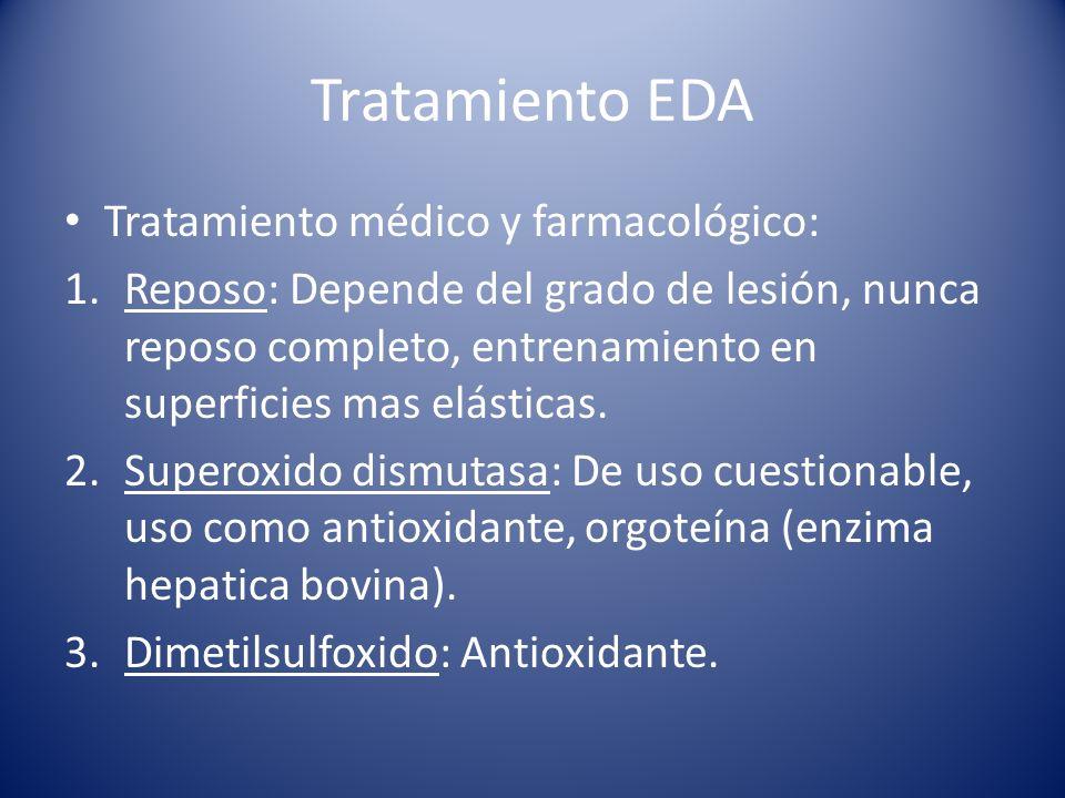 Tratamiento EDA Tratamiento médico y farmacológico: 1.Reposo: Depende del grado de lesión, nunca reposo completo, entrenamiento en superficies mas elásticas.