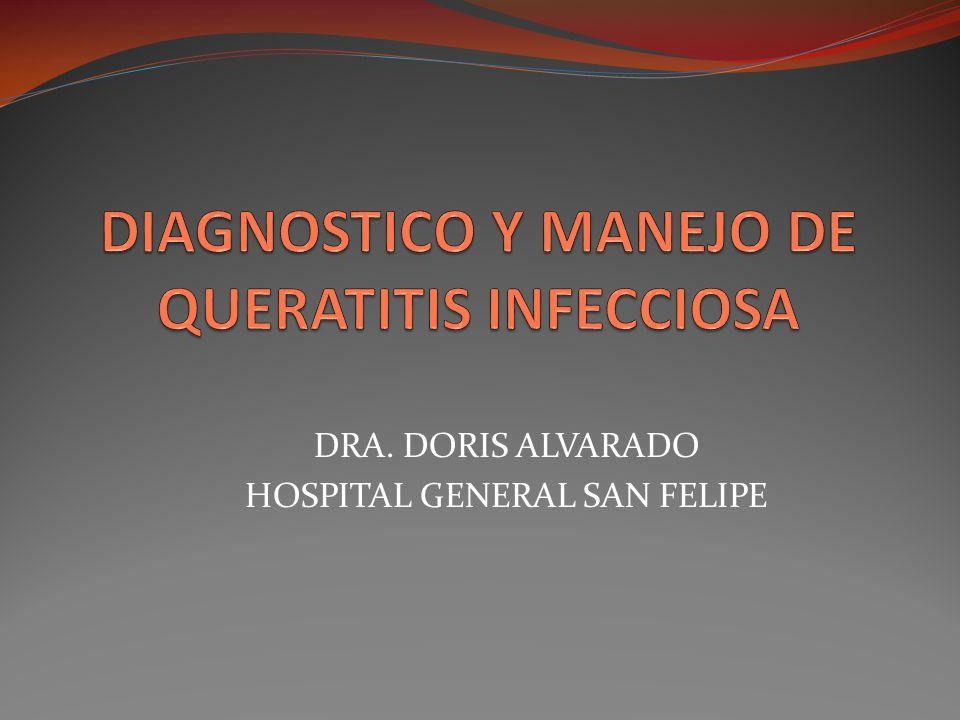 Ulcera corneal es un infiltrado inflamatorio, blanco y denso en la cornea acompañado de un defecto epitelial suprayacente y perdida tisular Habitualmente no se puede observar el iris Queratitis Bacteriana