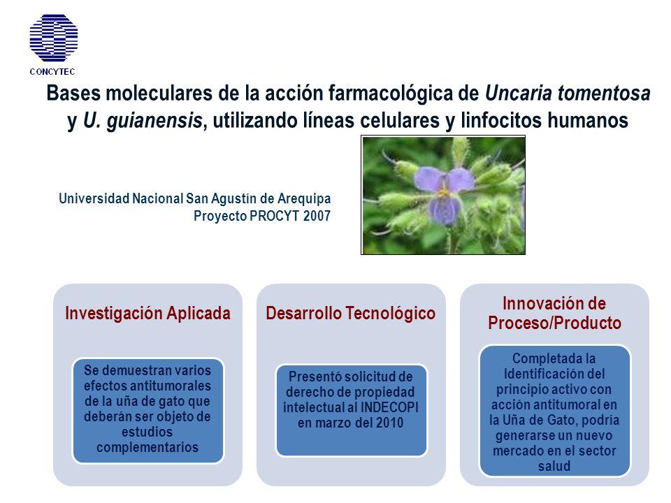 Bases moleculares de la acción farmacológica de Uncaria tomentosa y U. guianensis, utilizando líneas celulares y linfocitos humanos Universidad Nacion