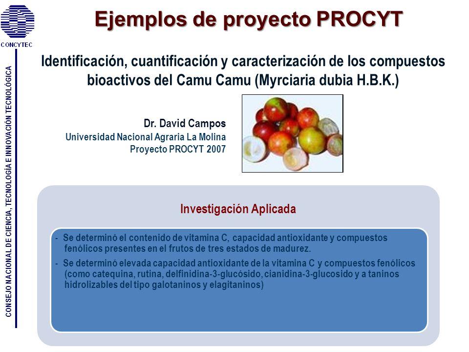 CONSEJO NACIONAL DE CIENCIA, TECNOLOGÍA E INNOVACIÓN TECNOLÓGICA Identificación, cuantificación y caracterización de los compuestos bioactivos del Cam