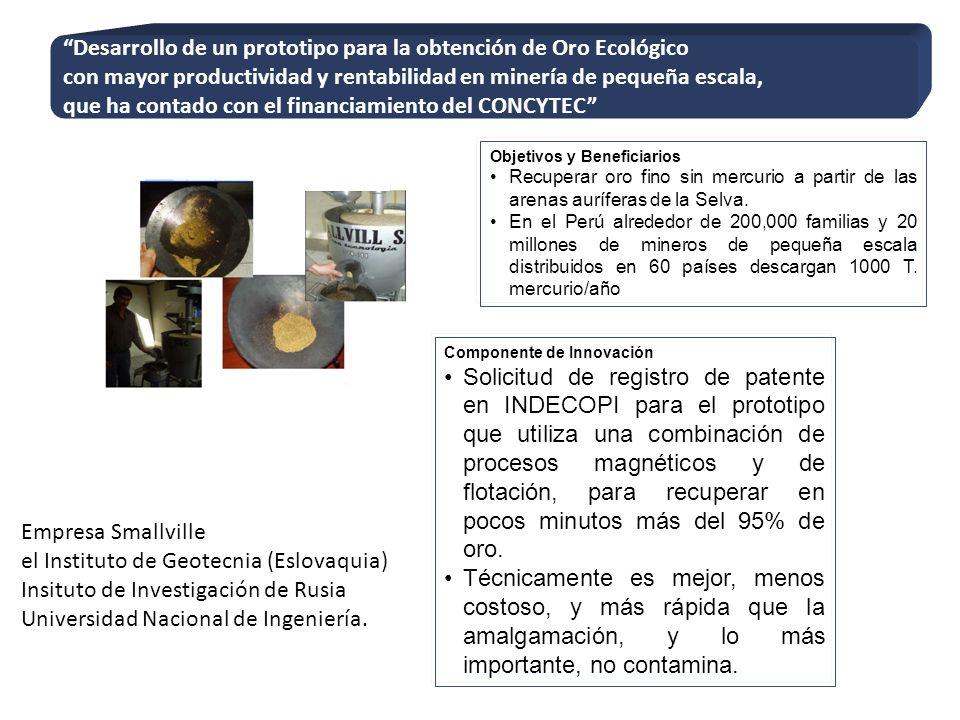 Desarrollo de un prototipo para la obtención de Oro Ecológico con mayor productividad y rentabilidad en minería de pequeña escala, que ha contado con