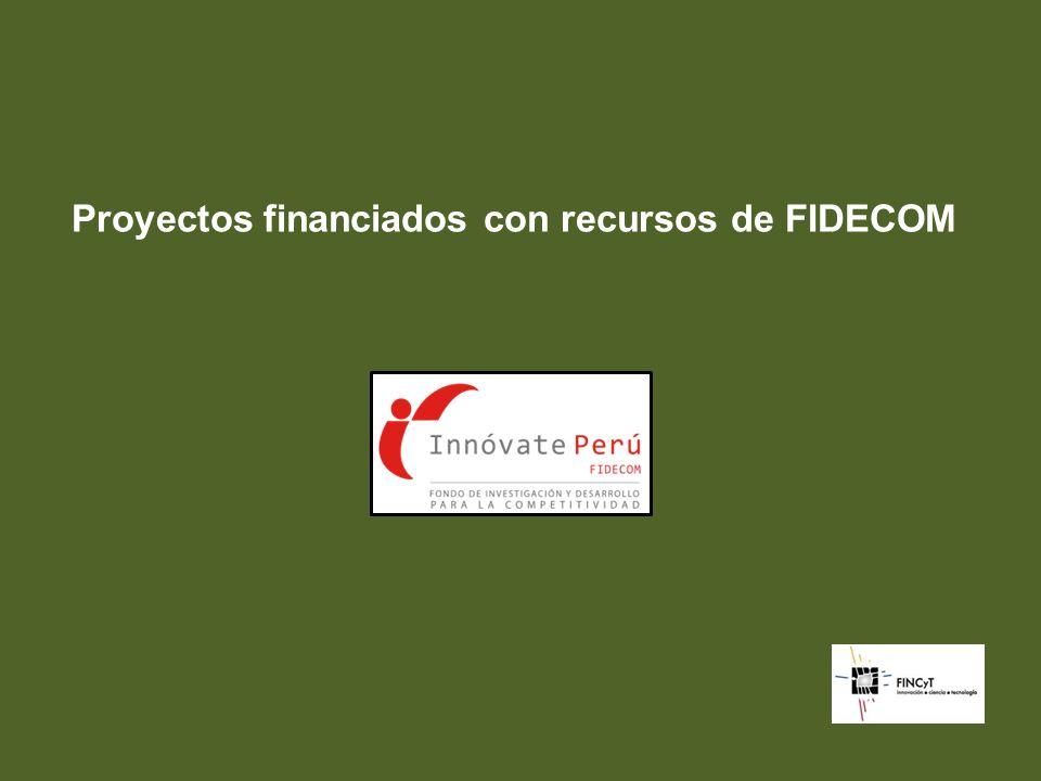Proyectos financiados con recursos de FIDECOM