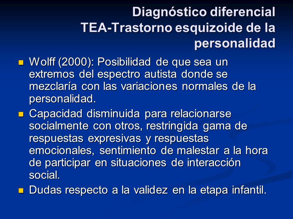 Diagnóstico diferencial TEA-Trastorno esquizoide de la personalidad Wolff (2000): Posibilidad de que sea un extremos del espectro autista donde se mez