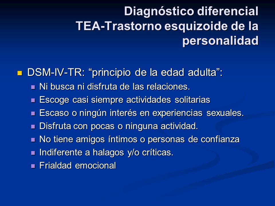 Diagnóstico diferencial TEA-Trastorno esquizoide de la personalidad DSM-IV-TR: principio de la edad adulta: DSM-IV-TR: principio de la edad adulta: Ni