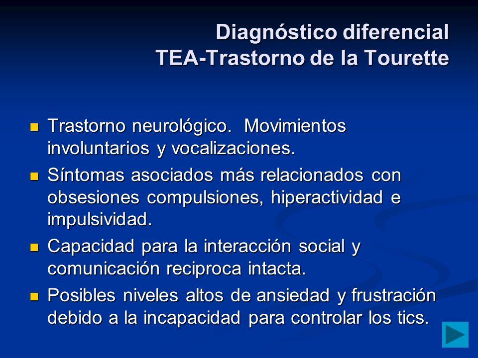Diagnóstico diferencial TEA-Trastorno de la Tourette Trastorno neurológico. Movimientos involuntarios y vocalizaciones. Trastorno neurológico. Movimie