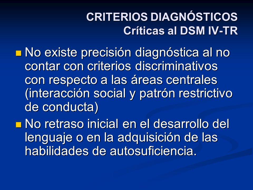 CRITERIOS DIAGNÓSTICOS Críticas al DSM IV-TR No existe precisión diagnóstica al no contar con criterios discriminativos con respecto a las áreas centr