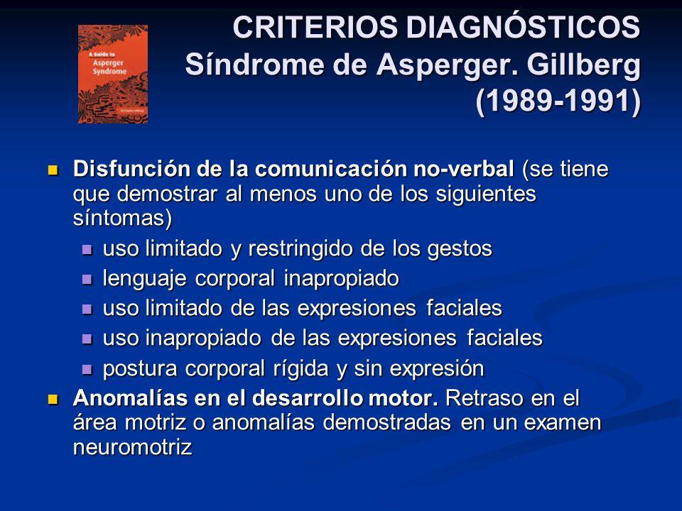 CRITERIOS DIAGNÓSTICOS Síndrome de Asperger. Gillberg (1989-1991) Disfunción de la comunicación no-verbal (se tiene que demostrar al menos uno de los