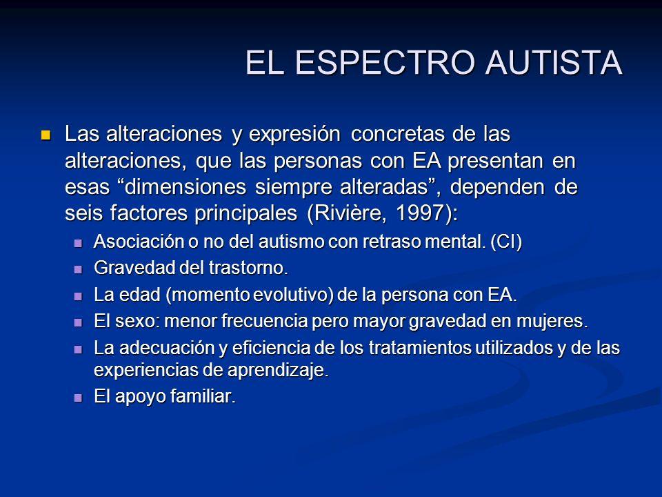 EL ESPECTRO AUTISTA Las alteraciones y expresión concretas de las alteraciones, que las personas con EA presentan en esas dimensiones siempre alterada