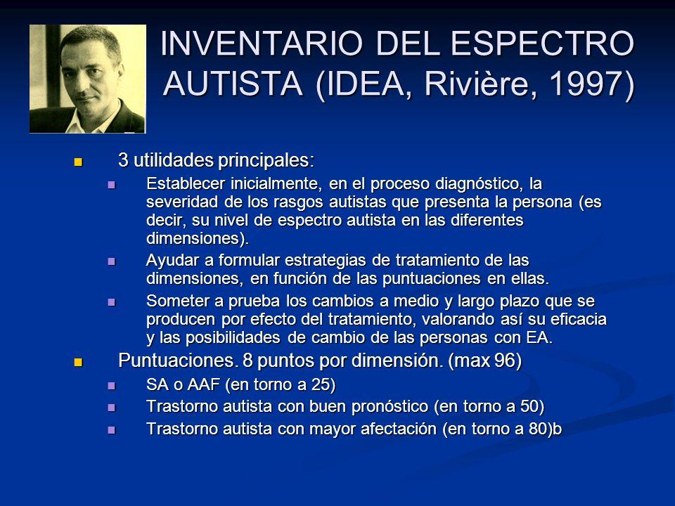 INVENTARIO DEL ESPECTRO AUTISTA (IDEA, Rivière, 1997) 3 utilidades principales: 3 utilidades principales: Establecer inicialmente, en el proceso diagn