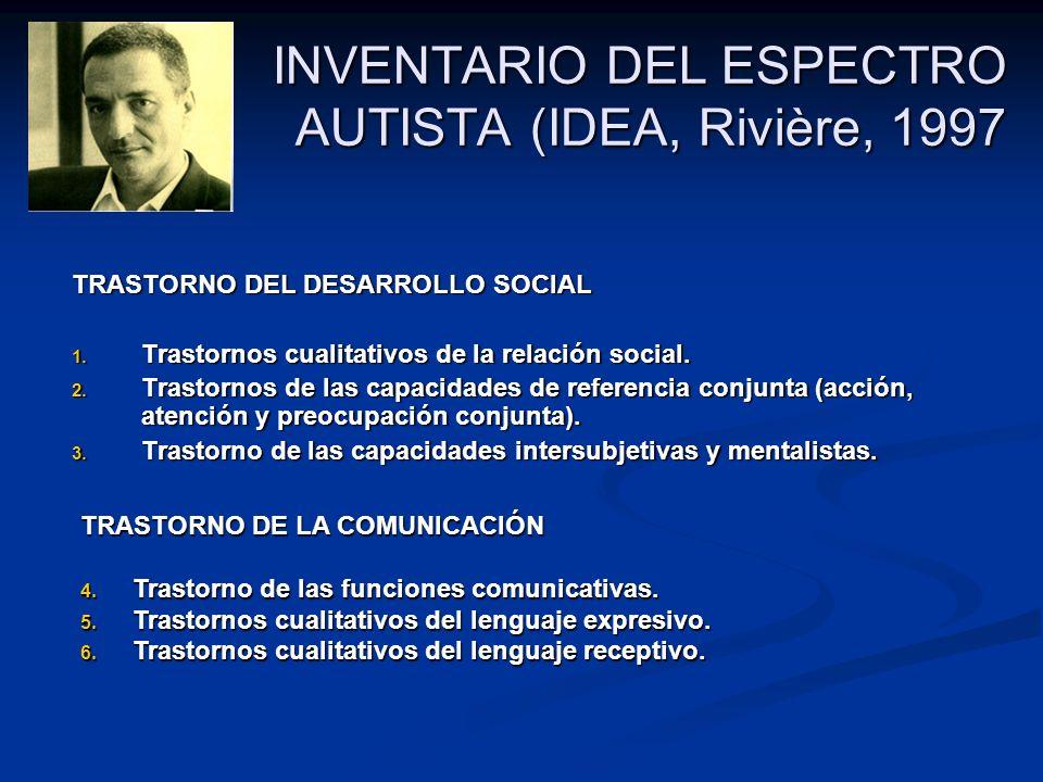 INVENTARIO DEL ESPECTRO AUTISTA (IDEA, Rivière, 1997 TRASTORNO DEL DESARROLLO SOCIAL 1. Trastornos cualitativos de la relación social. 2. Trastornos d