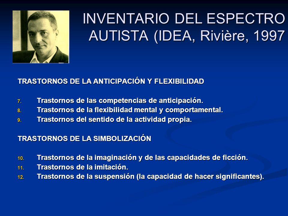 INVENTARIO DEL ESPECTRO AUTISTA (IDEA, Rivière, 1997 TRASTORNOS DE LA ANTICIPACIÓN Y FLEXIBILIDAD 7. Trastornos de las competencias de anticipación. 8