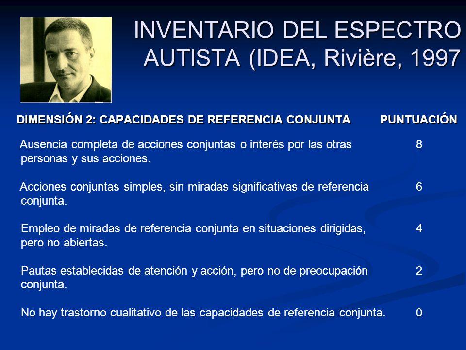 INVENTARIO DEL ESPECTRO AUTISTA (IDEA, Rivière, 1997 DIMENSIÓN 2: CAPACIDADES DE REFERENCIA CONJUNTA PUNTUACIÓN DIMENSIÓN 2: CAPACIDADES DE REFERENCIA