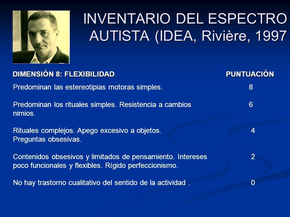 INVENTARIO DEL ESPECTRO AUTISTA (IDEA, Rivière, 1997 DIMENSIÓN 8: FLEXIBILIDAD PUNTUACIÓN DIMENSIÓN 8: FLEXIBILIDAD PUNTUACIÓN Predominan las estereot