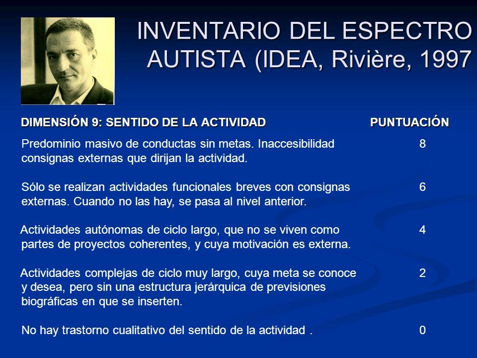 INVENTARIO DEL ESPECTRO AUTISTA (IDEA, Rivière, 1997 DIMENSIÓN 9: SENTIDO DE LA ACTIVIDAD PUNTUACIÓN DIMENSIÓN 9: SENTIDO DE LA ACTIVIDAD PUNTUACIÓN P