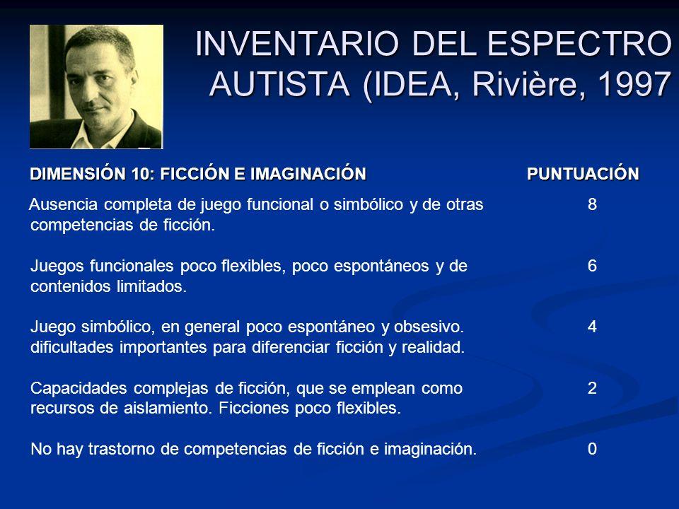 INVENTARIO DEL ESPECTRO AUTISTA (IDEA, Rivière, 1997 DIMENSIÓN 10: FICCIÓN E IMAGINACIÓN PUNTUACIÓN DIMENSIÓN 10: FICCIÓN E IMAGINACIÓN PUNTUACIÓN Aus
