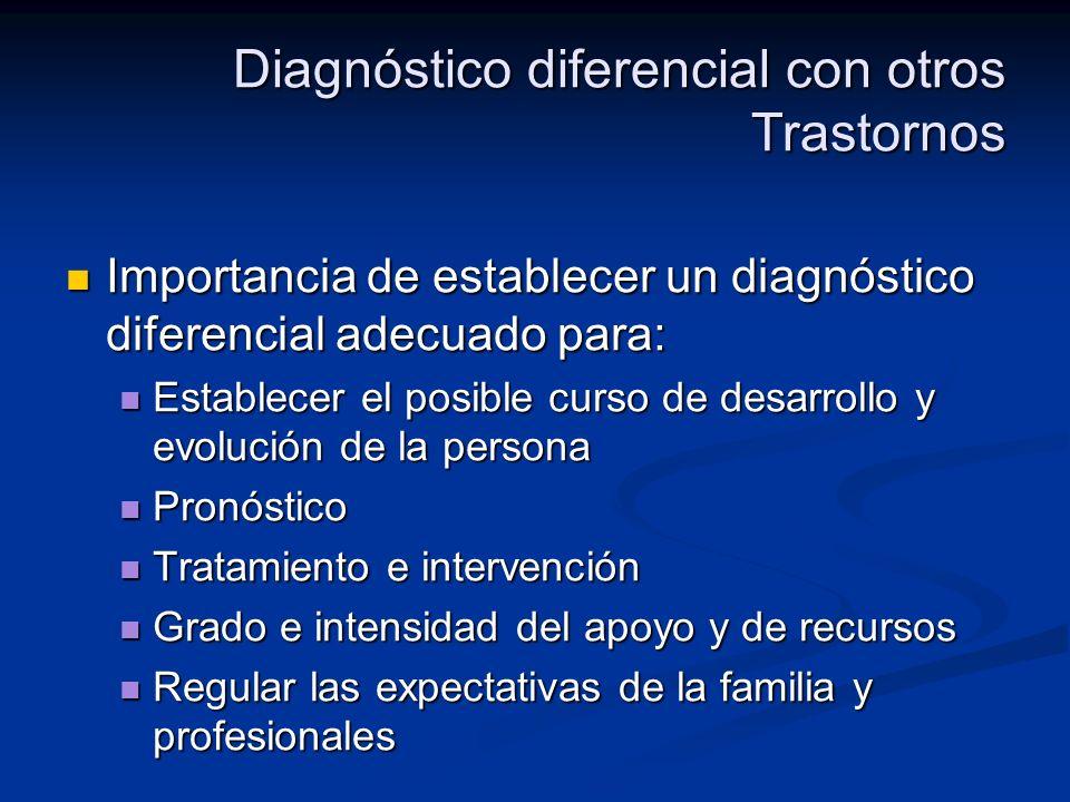 Diagnóstico diferencial con otros Trastornos Importancia de establecer un diagnóstico diferencial adecuado para: Importancia de establecer un diagnóst