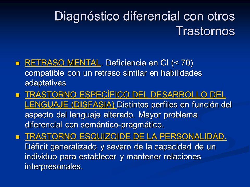 Diagnóstico diferencial con otros Trastornos RETRASO MENTAL. Deficiencia en CI (< 70) compatible con un retraso similar en habilidades adaptativas RET