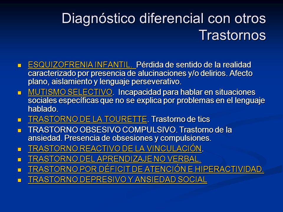 Diagnóstico diferencial con otros Trastornos ESQUIZOFRENIA INFANTIL. Pérdida de sentido de la realidad caracterizado por presencia de alucinaciones y/