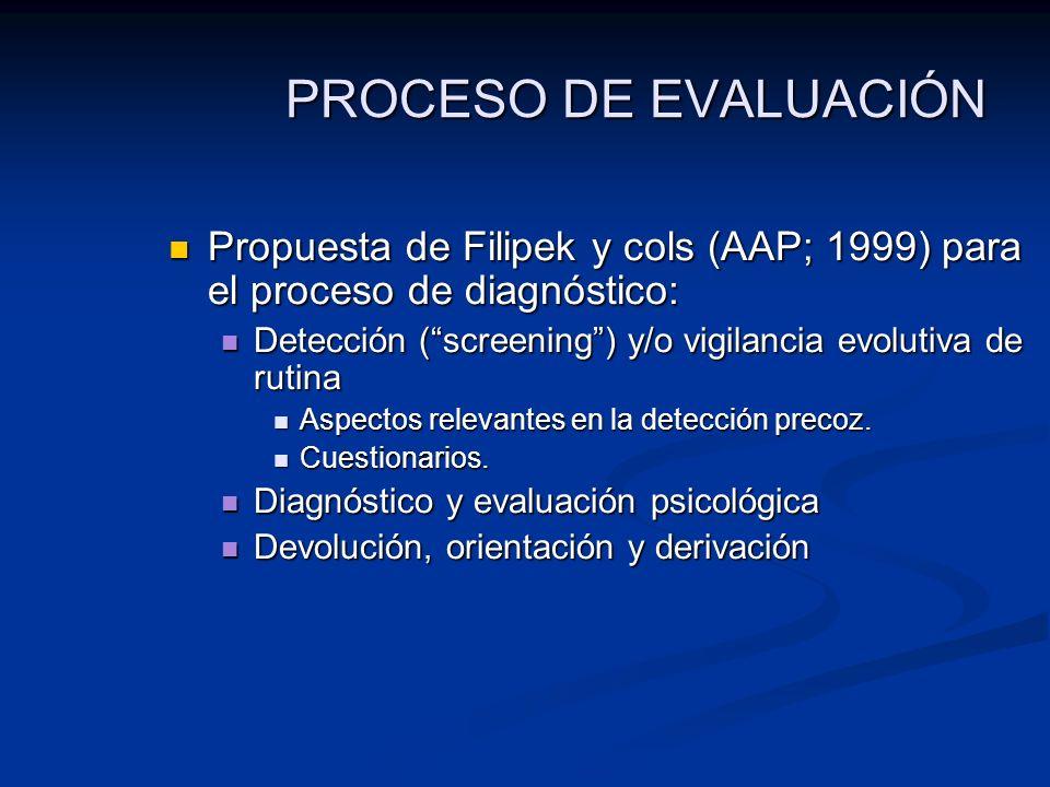 PROCESO DE EVALUACIÓN Propuesta de Filipek y cols (AAP; 1999) para el proceso de diagnóstico: Propuesta de Filipek y cols (AAP; 1999) para el proceso