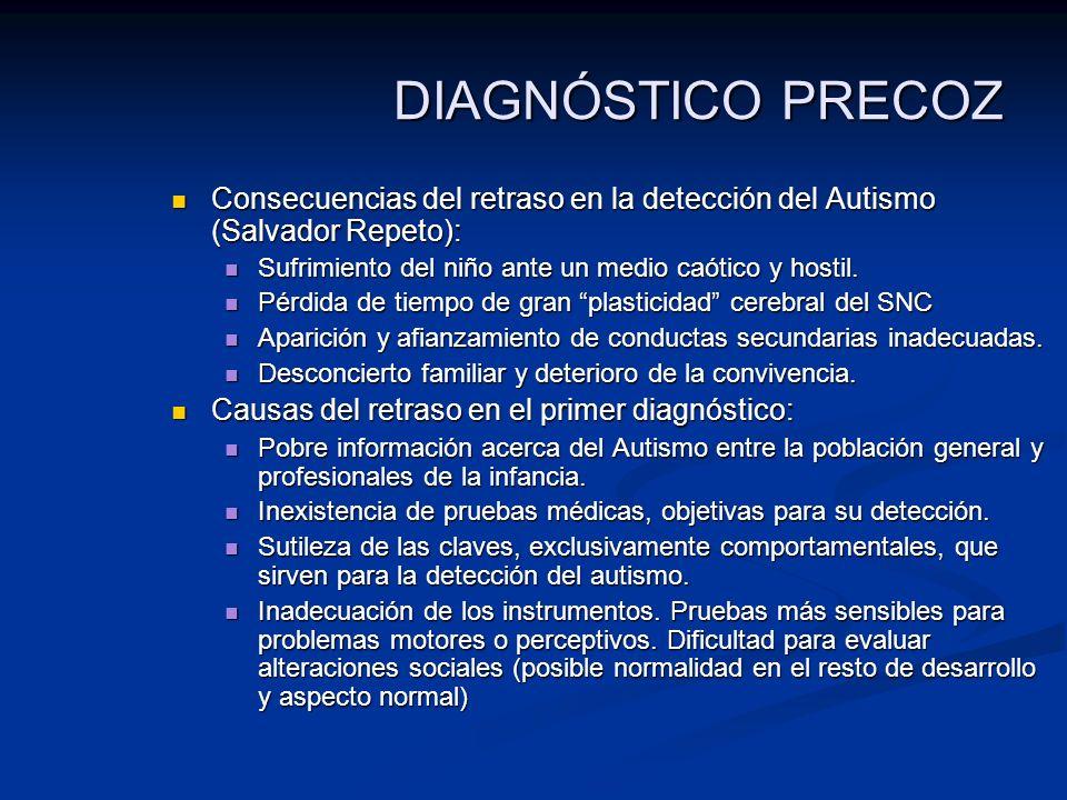 DIAGNÓSTICO PRECOZ Consecuencias del retraso en la detección del Autismo (Salvador Repeto): Consecuencias del retraso en la detección del Autismo (Sal
