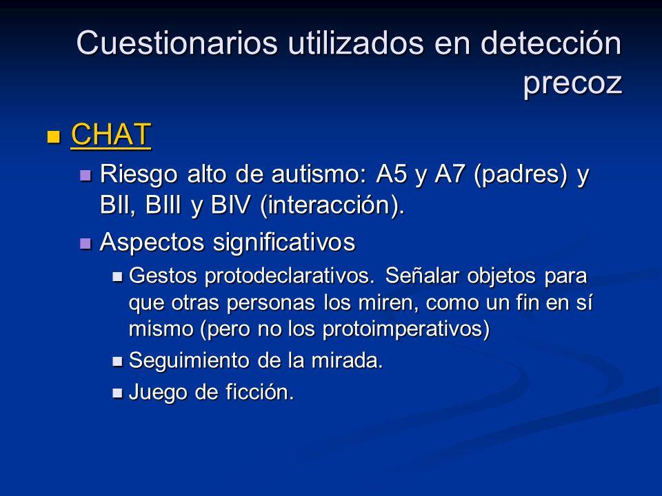 Cuestionarios utilizados en detección precoz CHAT CHAT CHAT Riesgo alto de autismo: A5 y A7 (padres) y BII, BIII y BIV (interacción). Riesgo alto de a