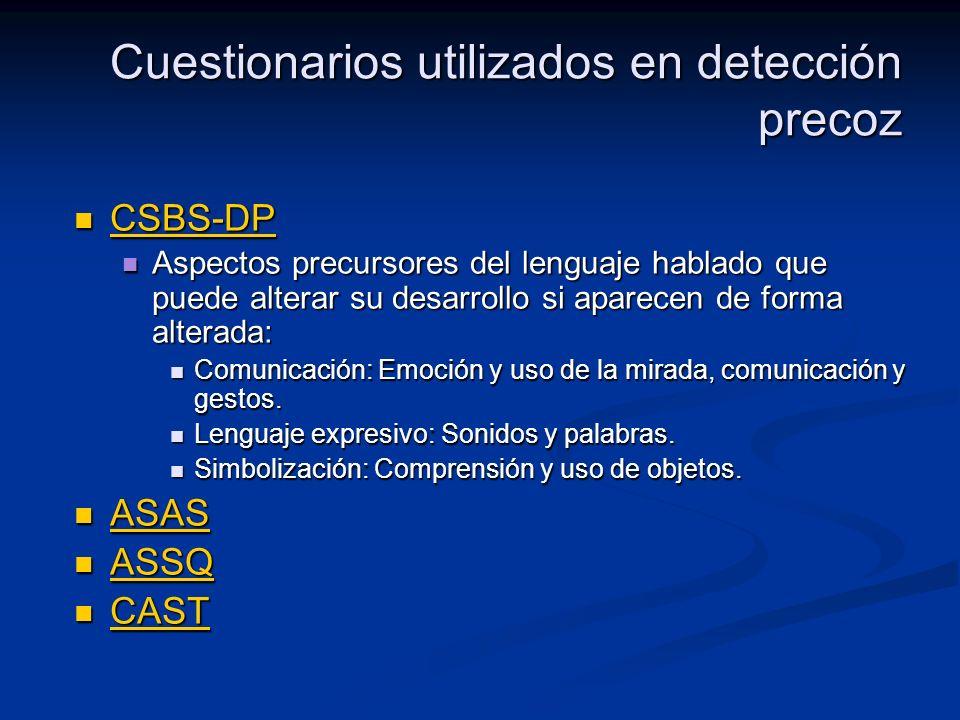 Cuestionarios utilizados en detección precoz CSBS-DP CSBS-DP CSBS-DP Aspectos precursores del lenguaje hablado que puede alterar su desarrollo si apar