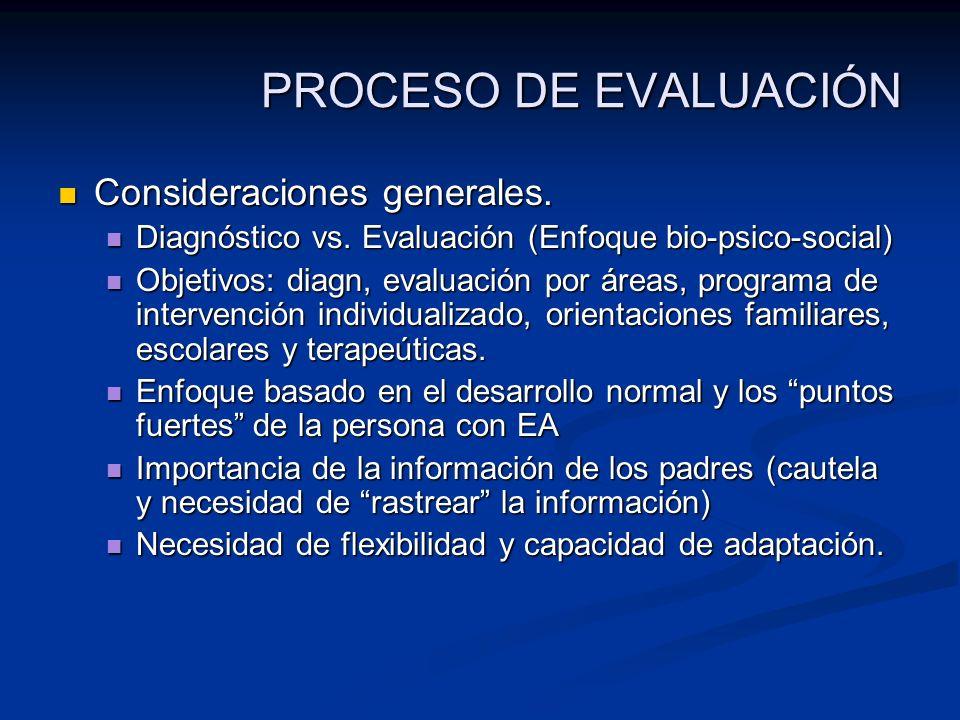 PROCESO DE EVALUACIÓN Consideraciones generales. Consideraciones generales. Diagnóstico vs. Evaluación (Enfoque bio-psico-social) Diagnóstico vs. Eval