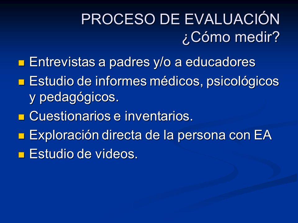 PROCESO DE EVALUACIÓN ¿Cómo medir? Entrevistas a padres y/o a educadores Entrevistas a padres y/o a educadores Estudio de informes médicos, psicológic
