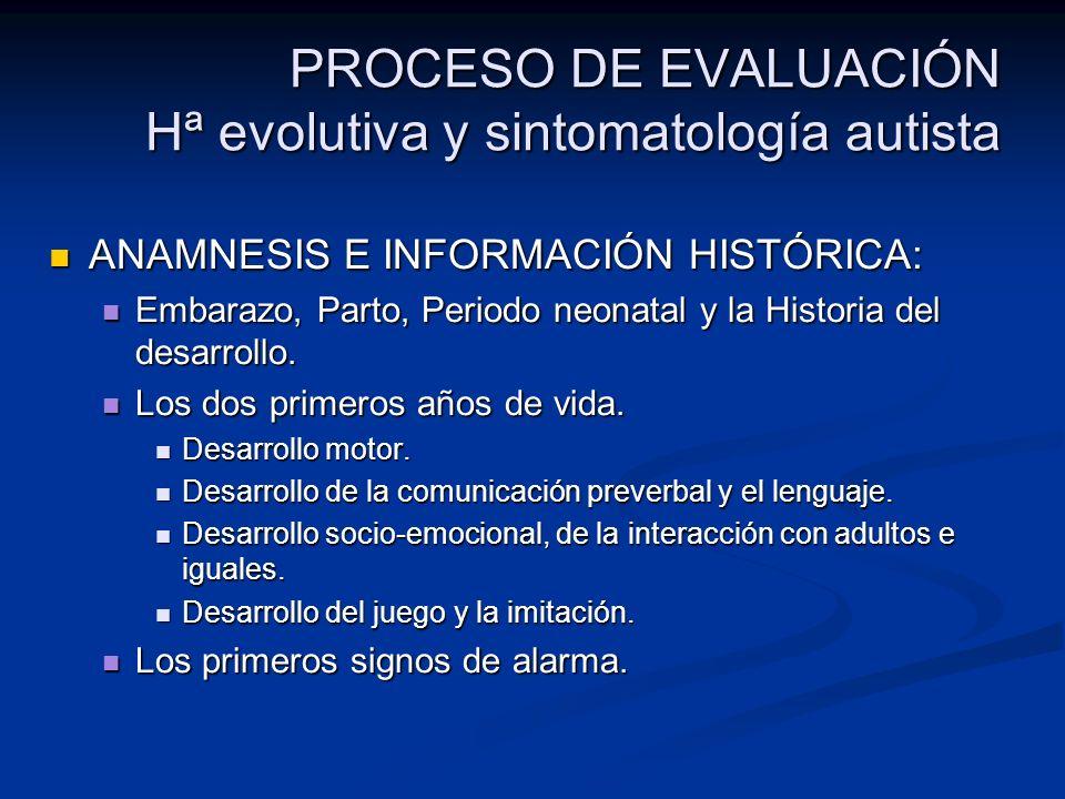 PROCESO DE EVALUACIÓN Hª evolutiva y sintomatología autista ANAMNESIS E INFORMACIÓN HISTÓRICA: ANAMNESIS E INFORMACIÓN HISTÓRICA: Embarazo, Parto, Per