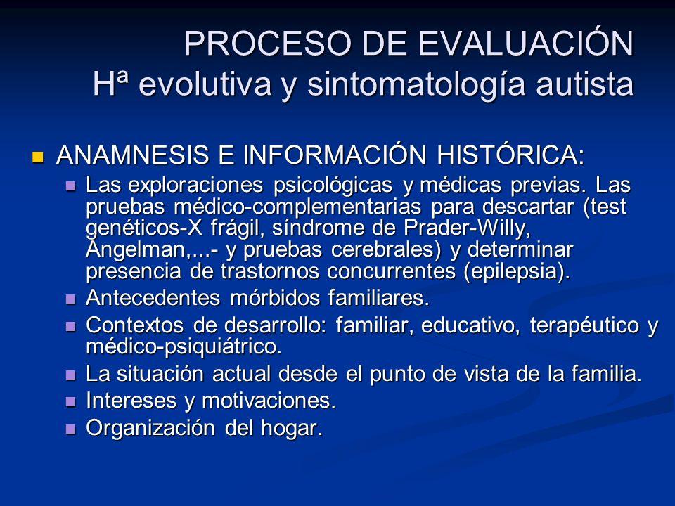 PROCESO DE EVALUACIÓN Hª evolutiva y sintomatología autista ANAMNESIS E INFORMACIÓN HISTÓRICA: ANAMNESIS E INFORMACIÓN HISTÓRICA: Las exploraciones ps