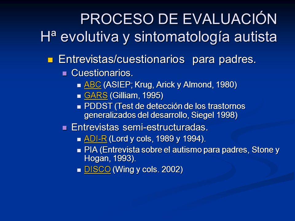 PROCESO DE EVALUACIÓN Hª evolutiva y sintomatología autista Entrevistas/cuestionarios para padres. Entrevistas/cuestionarios para padres. Cuestionario