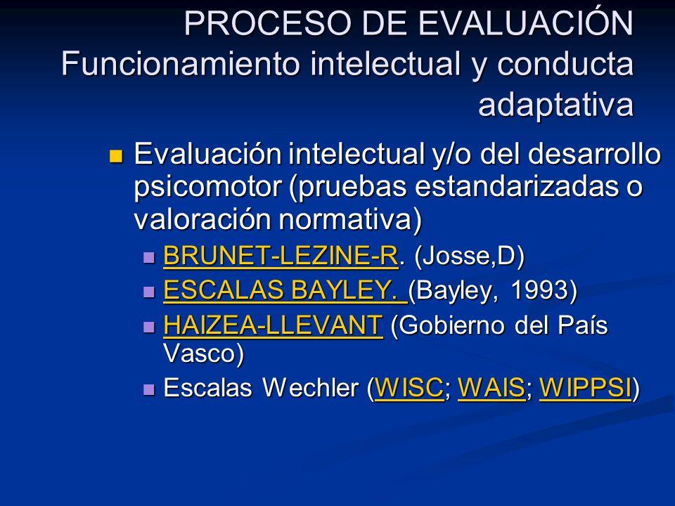 PROCESO DE EVALUACIÓN Funcionamiento intelectual y conducta adaptativa Evaluación intelectual y/o del desarrollo psicomotor (pruebas estandarizadas o