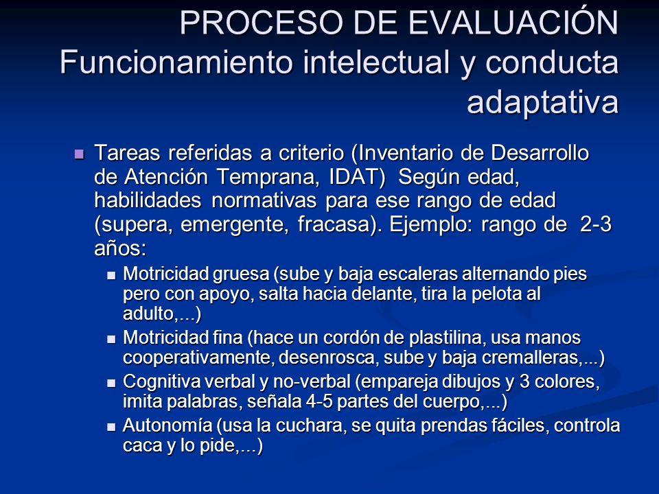 PROCESO DE EVALUACIÓN Funcionamiento intelectual y conducta adaptativa Tareas referidas a criterio (Inventario de Desarrollo de Atención Temprana, IDA