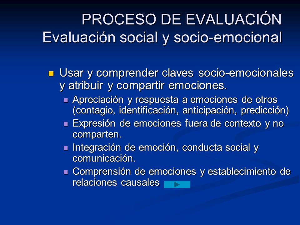 PROCESO DE EVALUACIÓN Evaluación social y socio-emocional Usar y comprender claves socio-emocionales y atribuir y compartir emociones. Usar y comprend
