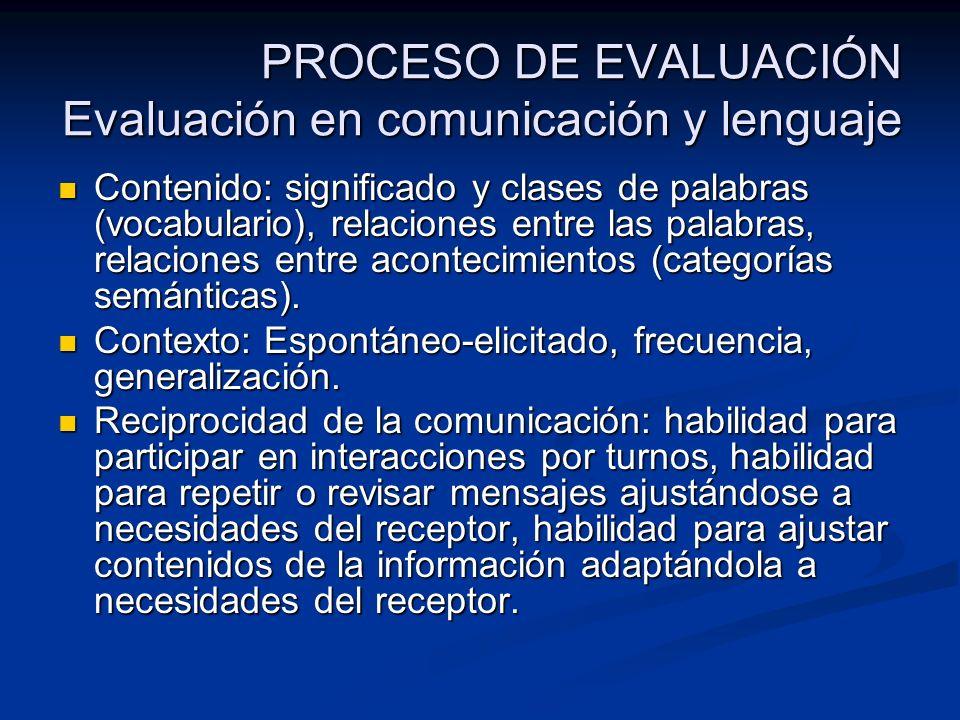 PROCESO DE EVALUACIÓN Evaluación en comunicación y lenguaje Contenido: significado y clases de palabras (vocabulario), relaciones entre las palabras,