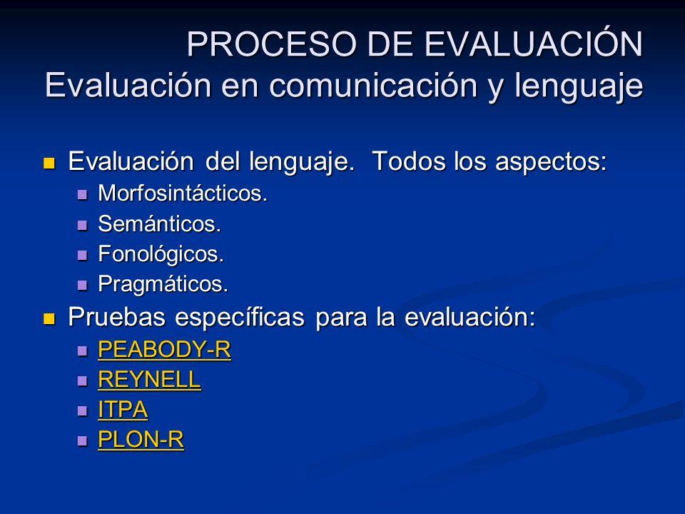 PROCESO DE EVALUACIÓN Evaluación en comunicación y lenguaje Evaluación del lenguaje. Todos los aspectos: Evaluación del lenguaje. Todos los aspectos: