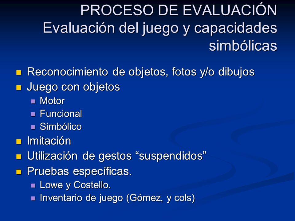 PROCESO DE EVALUACIÓN Evaluación del juego y capacidades simbólicas Reconocimiento de objetos, fotos y/o dibujos Reconocimiento de objetos, fotos y/o
