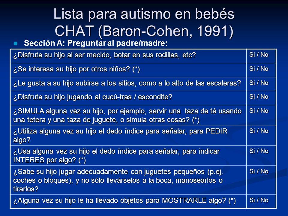 Lista para autismo en bebés CHAT (Baron-Cohen, 1991) ¿Disfruta su hijo al ser mecido, botar en sus rodillas, etc? Si / No ¿Se interesa su hijo por otr