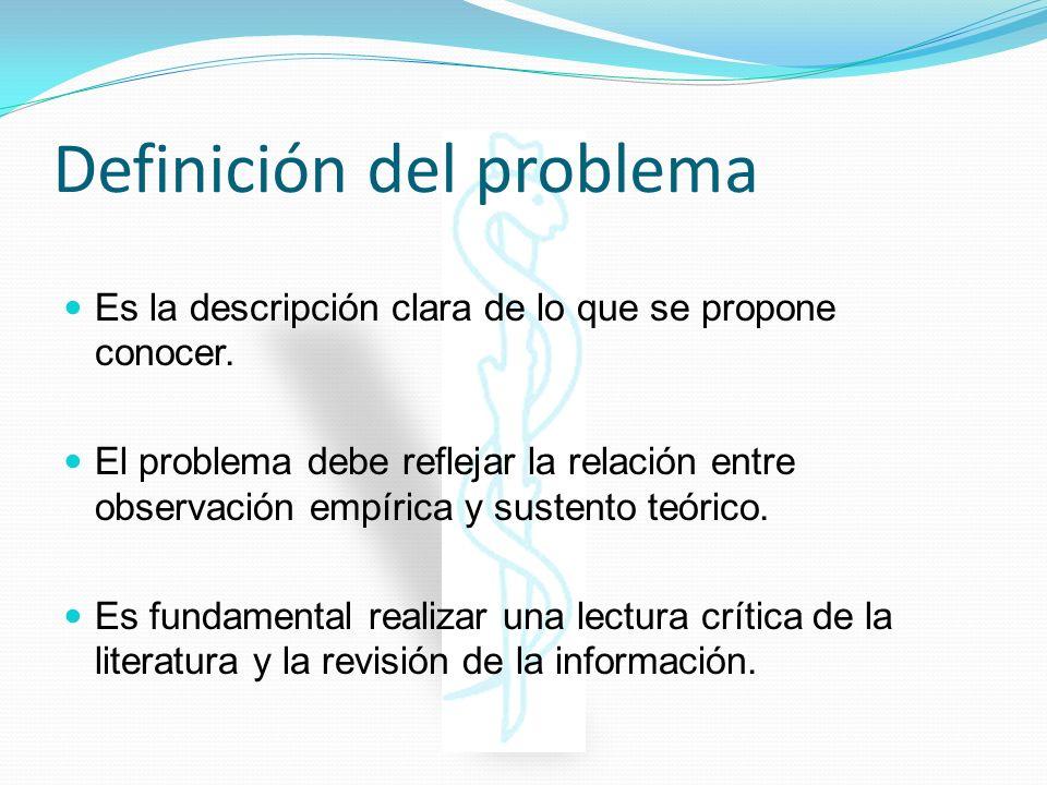 Definición del problema Es la descripción clara de lo que se propone conocer. El problema debe reflejar la relación entre observación empírica y suste
