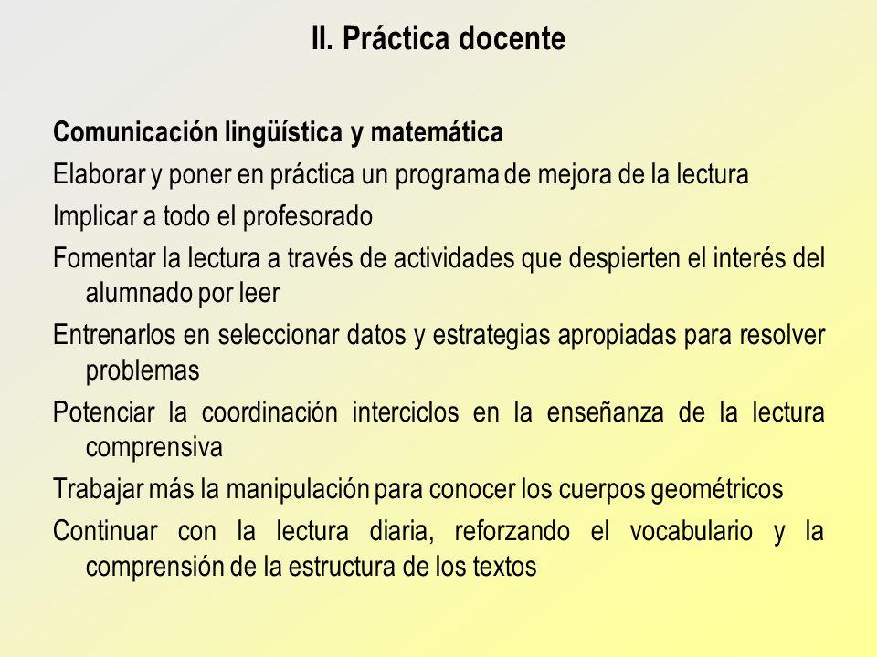 II. Práctica docente Comunicación lingüística y matemática Elaborar y poner en práctica un programa de mejora de la lectura Implicar a todo el profeso